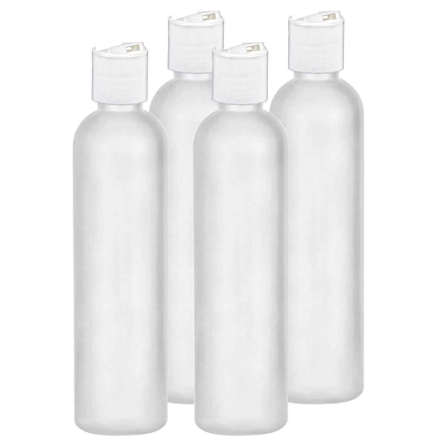 MoYo Natural Labs 4 oz Travel Bottles, Empty Travel Containers with Disc Caps, BPA Free HDPE Plastic Squeezable Toiletry/Cosmetic Bottles (Neck 24-410) (Pack of 4, HDPE Translucent White)