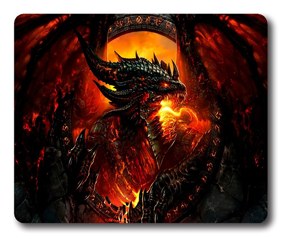 Online Designs Steel Red Dragon Square mouse pad gaming mouse mat 9 * 7.5inch
