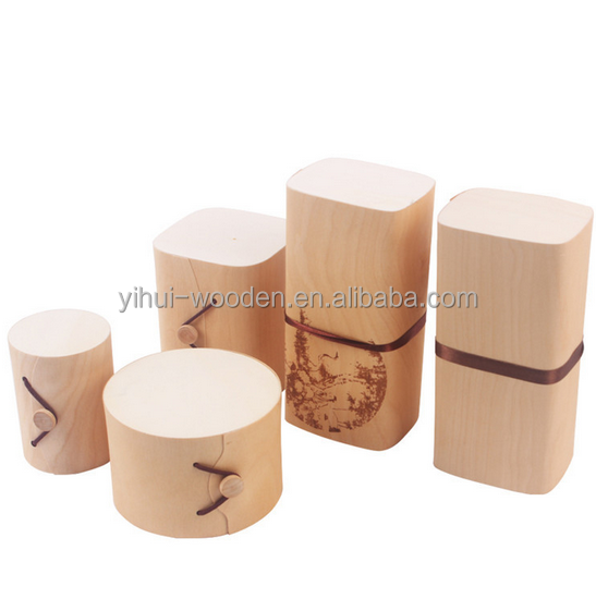 cheap birch wood veneer packaging box round light weight wooden tea box