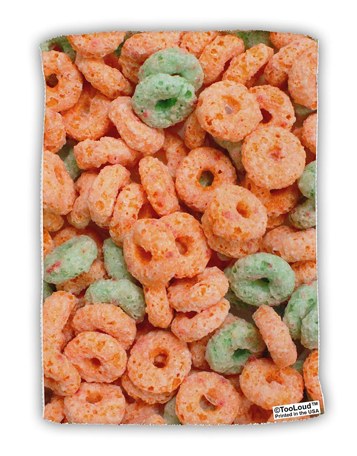 "TooLoud Orange and Green Cereal All Over Micro Terry Sport Towel 11""x8"" All Over Print"