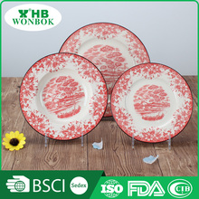 High grade personalized red pattern porcelain dish and plate dinnerware