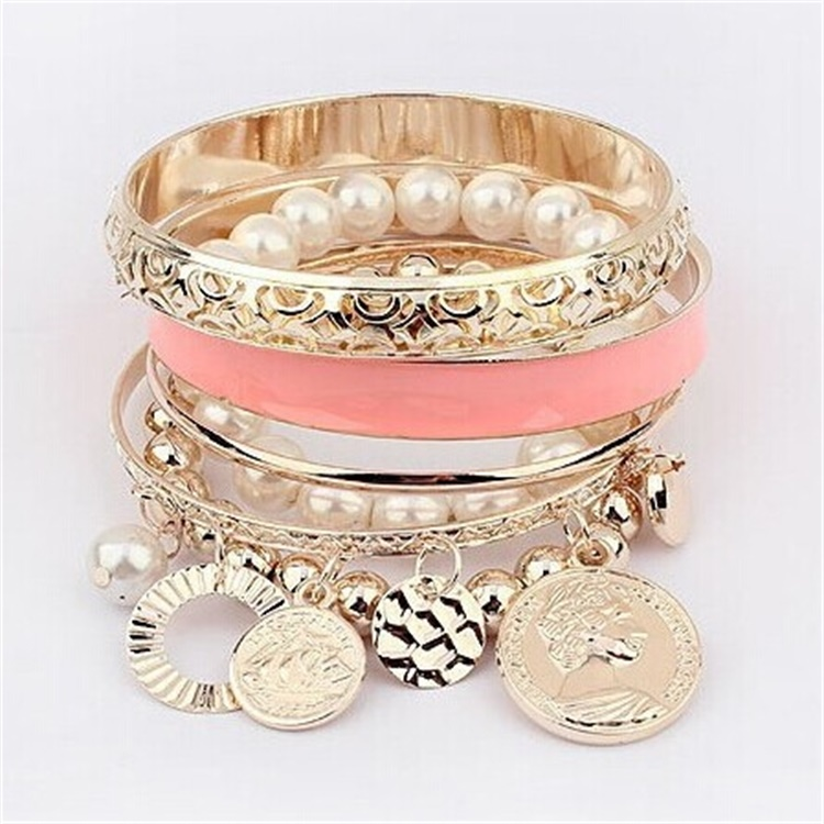 Fashion Womens Jewelry Gold Metal Pearl Charm Bangle Multilayer Pendant Bracelet Set