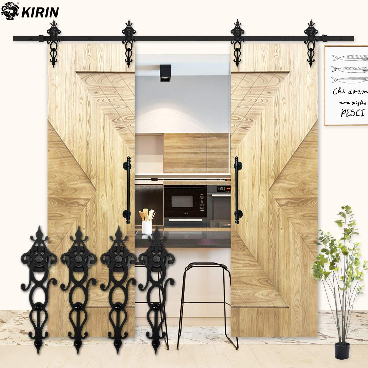Get Quotations · Kirin Sliding Barn Door Hardware Systerm Double Wood Doors  Interior Closet Decor Vintage Style Art Shape