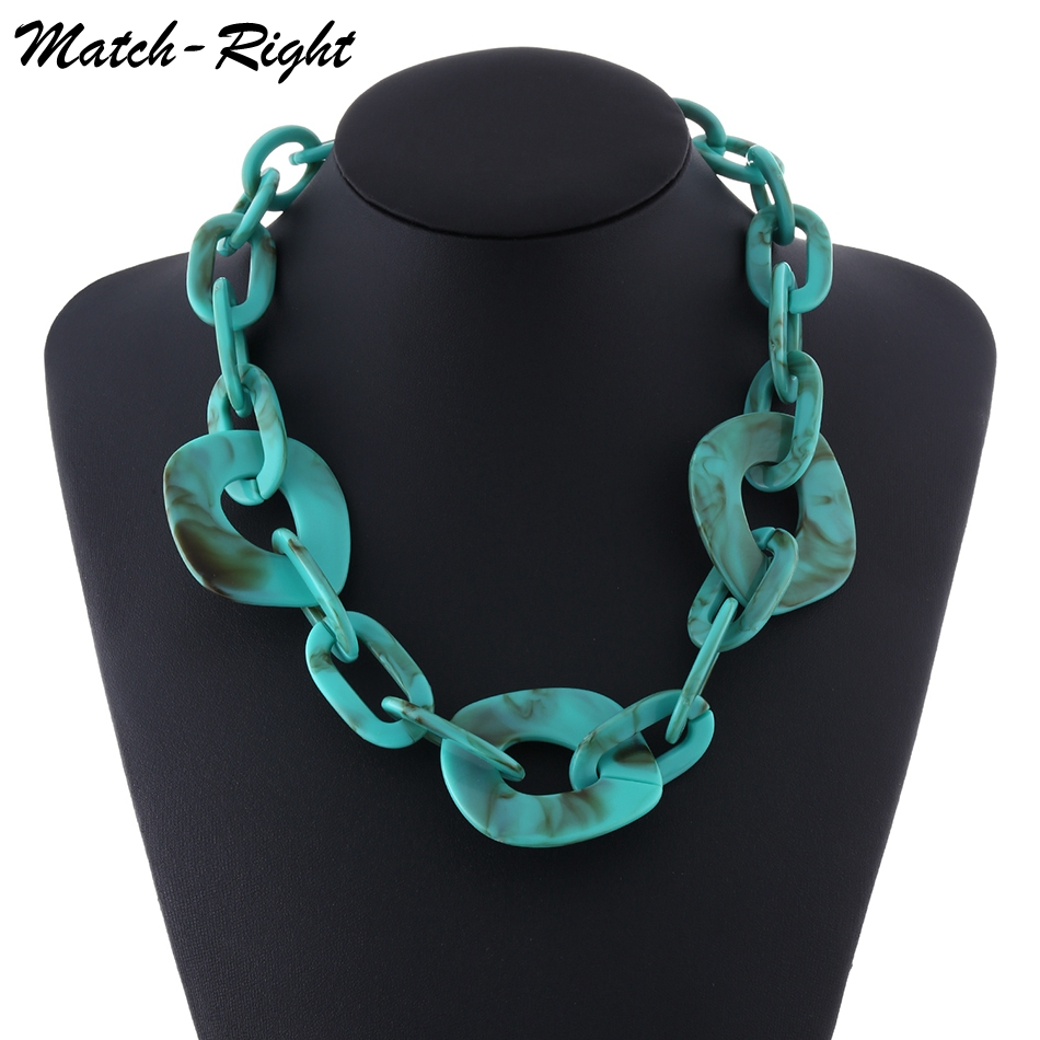 Women Fashion Jewelry Chunky Necklace Multicolor Acrylic Hollow out Punk Style Statement Necklace SP454 фото