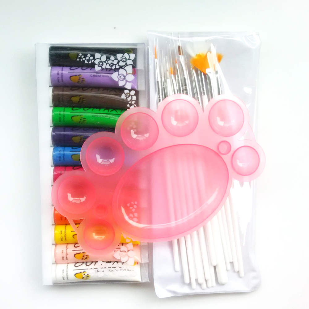3 Items Nail Art Decoration Kit 12 pcs Colors Pro Paint 3D Painting Pigment Gel 1