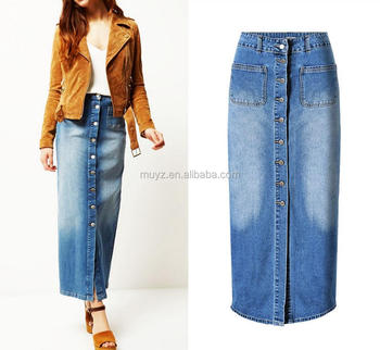 23304474a7ec L0045a Wholesale Jean Skirt Women Cotton Maxi Long Denim Skirts ...