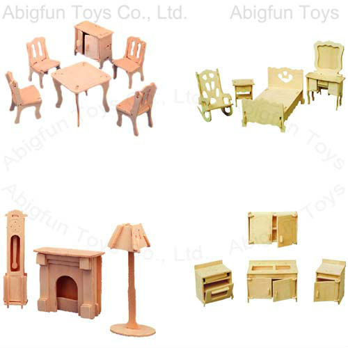 wooden kits bedroom set model, kids furniture woodcraft kits