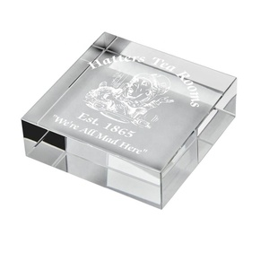 Top quality wholesale custom Square Crystal Paperweight cheap glass paperweight for Awards