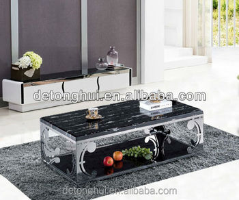 CJ 821# Living Furniture Modern Coffee Table Modern Western Style Black  Granite Center Table