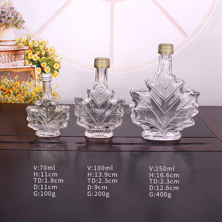 70ml 100ml 250ml Maple leaf shaped glass syrup bottle with screw cap