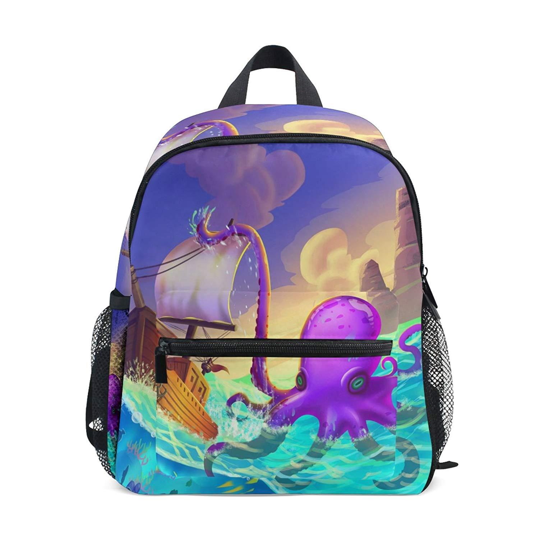 de779522abf1 Get Quotations · ZZKKO Sea Pirate Marine Octopus Kids Backpack School Book  Bag for Toddler Boys Girls