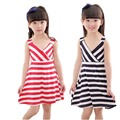 4 7years New Girls Dress Summer Striped V Neck Beach Dresses for Girl Casual Cotton Clothing
