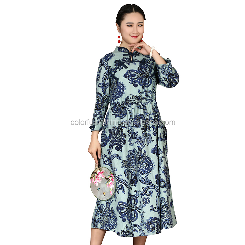 Long Dress Floral Customized Printed Qipao Cheongsam