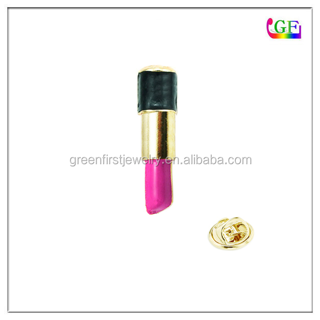 Gold pink Lipstick cosmetic LAPEL PIN brooch