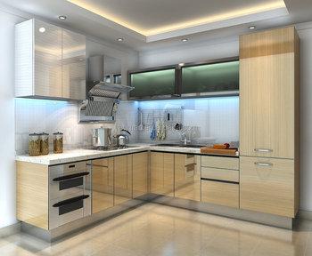Harga Aluminium Dapur Kabinet Lacquer Sederhana Desain