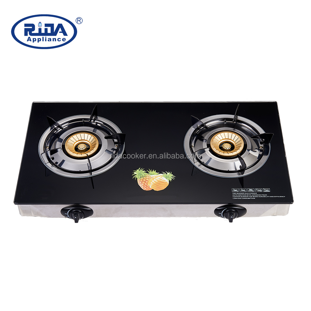 Tempered Glass cooktops 2 burner gas stove