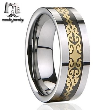 10MM Hot Selling Gold UP Mark Inlay Tungsten Ring Wedding Band Mens Jewelry