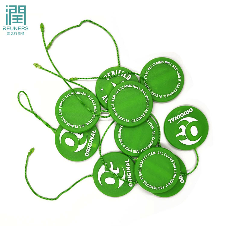 Custom brand colorful lock seal hang tag plastic string tag for garment