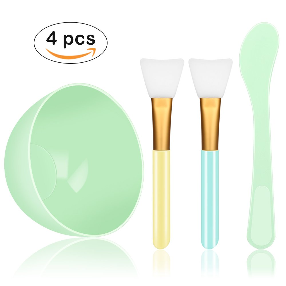 Face Mask Mixing Bowl Set, Yblntek 4 in 1 DIY Facemask Mixing Tool Kit with Facial Mask Bowl Stick Spatula Silicone Face Mask Brush