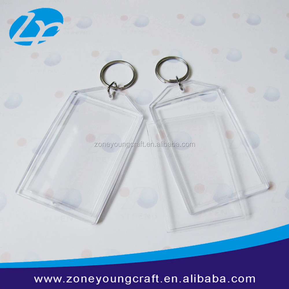 Plastic transparent photo insert holder keychain