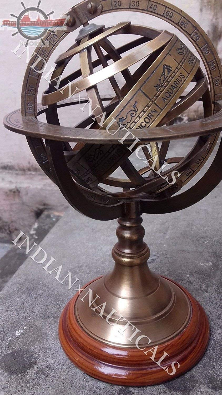 "8.5"" Engraved Brass Tabletop Armillary Nautical Sphere Globes -World Globe IxN"