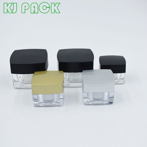 acrylic plastic cosmetic empty packaging square cosmetic crystal clear jar 20g 30g 50g 80g eye cream jar