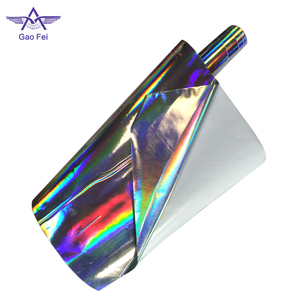 high light 50 microns PET holographic cold lamination film with embossing