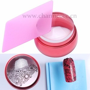 3.5cm Clear Silicone Jelly Nail Stamper with Cap Chess Design Nail Art Stamper Stamping Plastic Plate With Scraper 2016