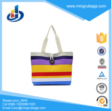 2017 Canvas Stripe Beach Tote Bag For Promotion
