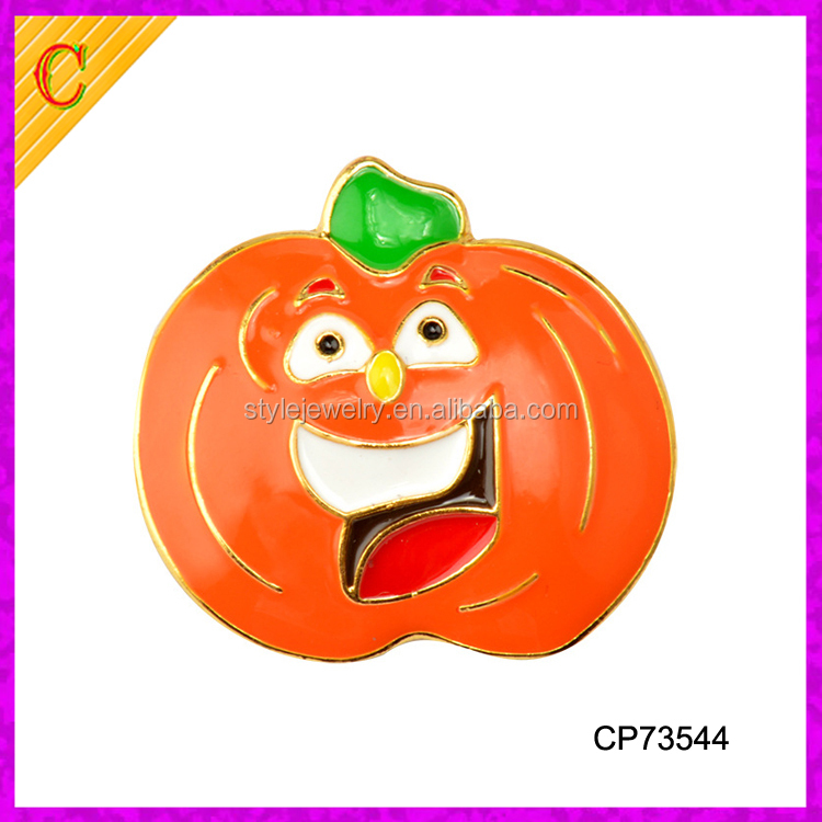 CP73544 Gold Plated Enamel Alloy Halloween Jewelry Making Charms Pumpkin Lapel pin