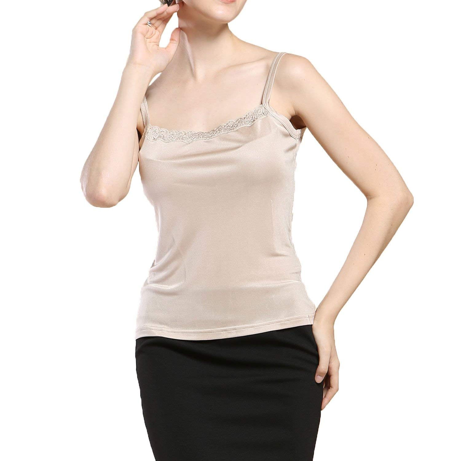 fa2e56591ac758 Get Quotations · Paradise Silk Pure Silk Knit Womens Lacy Camisole Tank Top