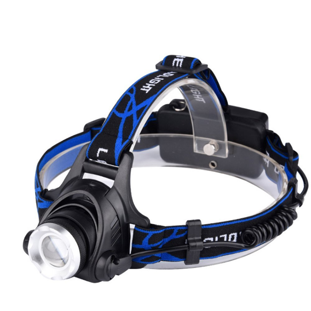Wsky Led Headlamp, Zoomable 3 Modes Super Bright LED Headlight, Waterproof Super Bright Flashlight for Outdoor Running Fishing Hunting Camping