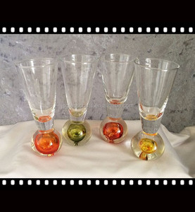 Barware shot glass wine cup with weighted color ball bottom wine glass