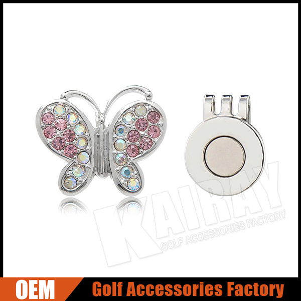 Custom Metal Diamond Magnetic Golf Ball Markers With Hat Clip