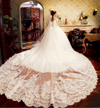 Modern A Line Off Shoulder Cap Sleeve Satin Ball Gown With Long Tail Wedding
