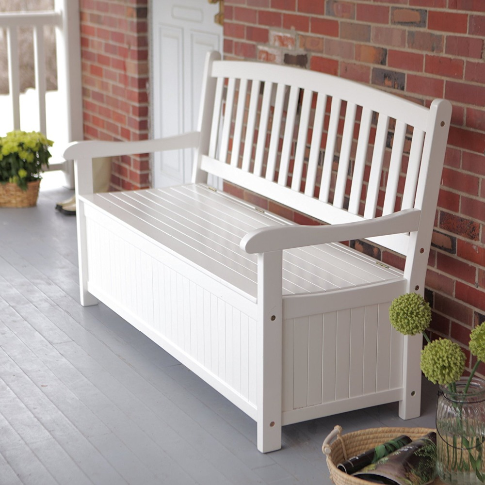 White Color Wood Patio Storage Bench With High Back Outdoor Bench Seats