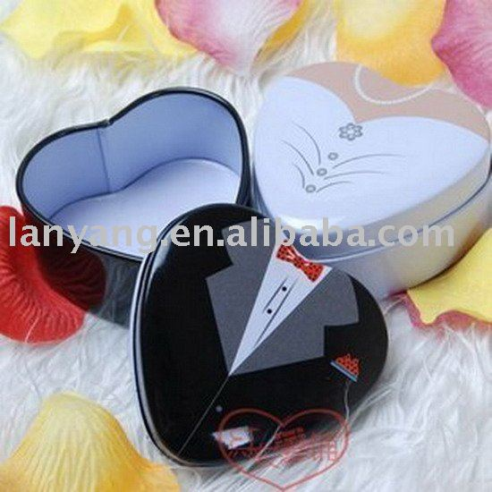Metal Tin Heart Bride Bridal Candy Box Wedding