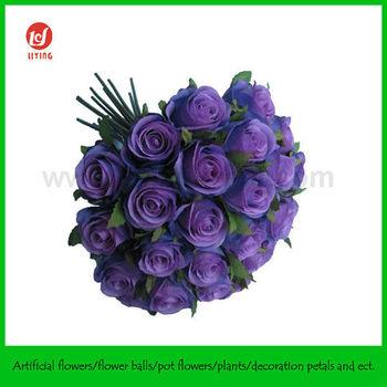10quot Romantic Purple Rose Bouquetx26 HeadsWedding Bouquets Silk Flowers