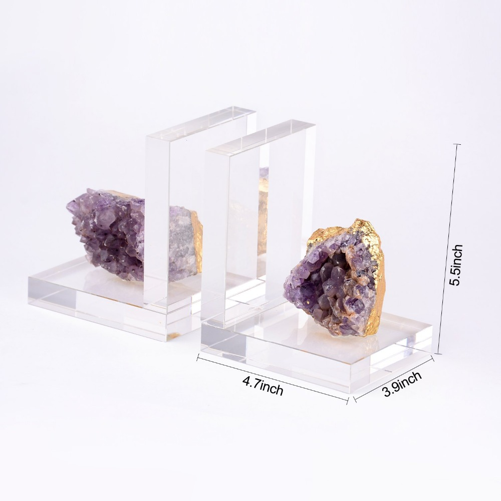BRLIGHTING Crystal decorative Bookends Heavy Duty in Purple BRAC4102 for office, Shelves and Desk Set of 2