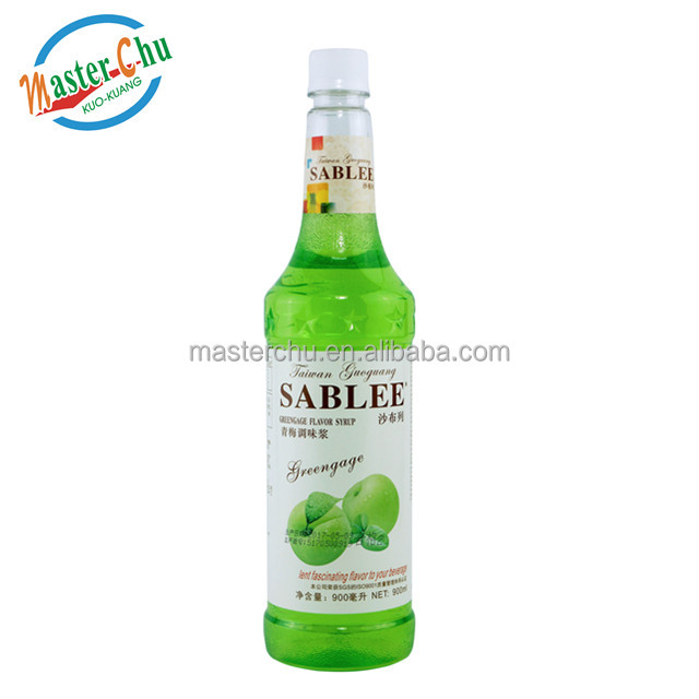 Hot Sale! Halal French Greengage Flavor Syrup fresh fruit fit for beverage with English Label ( 900ml)