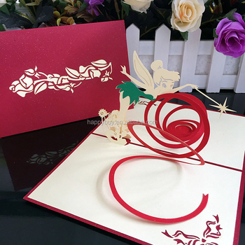 Magic Fairy 3d Pop Up Birthday Greeting Card Laser Cutting Handmade