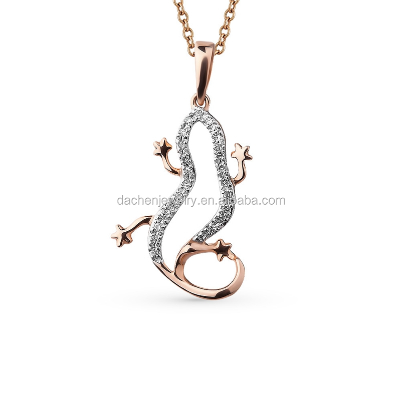 Rose Gold Crystal Gecko Pendant Sterling Silver Necklace Jewelry Sets 2017