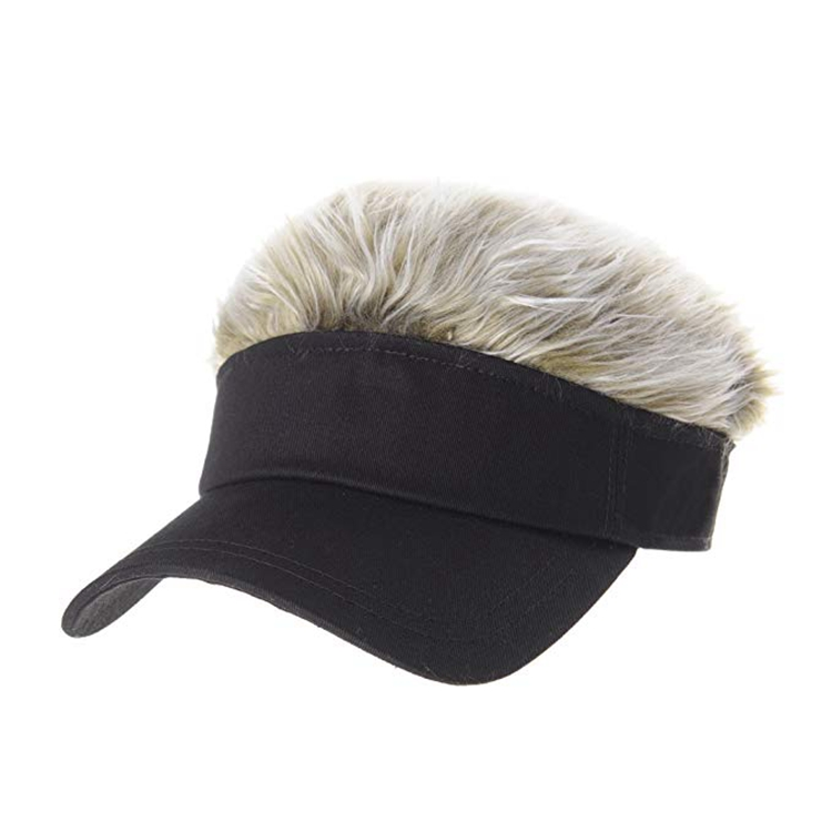 626fdd06 Wholesale Novelty Funny Adjustable Multi Color Faux Afro Hairy Sun Visor  Cap Hat With Hair Attached