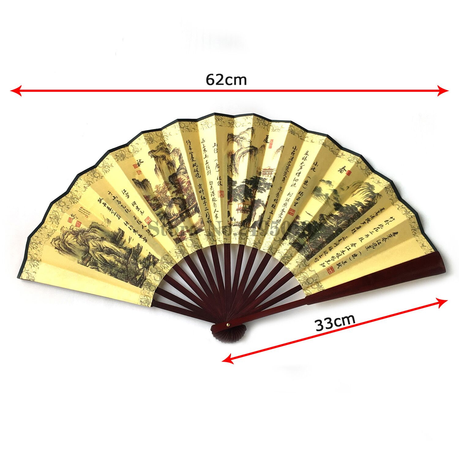 Chinese Large Wooden Men\'s Hand Paper Fan Decoration,Big Decorative ...
