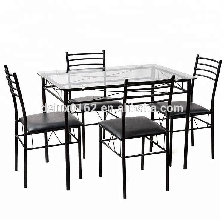 C344 Square Glass Dining Table And Chair Sets Metal Legs And Top Glass Dining Table With Modern Design Dining Room Furniture Buy Glass Top Dining Table With Leather Chairs Dubai Dining Tables