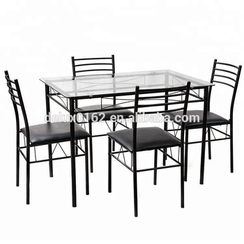 C344 Square Glass Dining Table And Chair Sets Metal Legs And Top Glass Dining Table With Modern Design Dining Room Furniture Buy Glass Top Dining