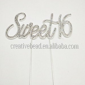 Hot Sale Rhinestone Cake Topper And Sweet 16 Happy Birthday Cake Topper For Girlish Party