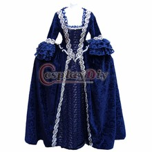 ROCOCO Ball Grown Gothic Medieval Victorian Dark Blue Dress