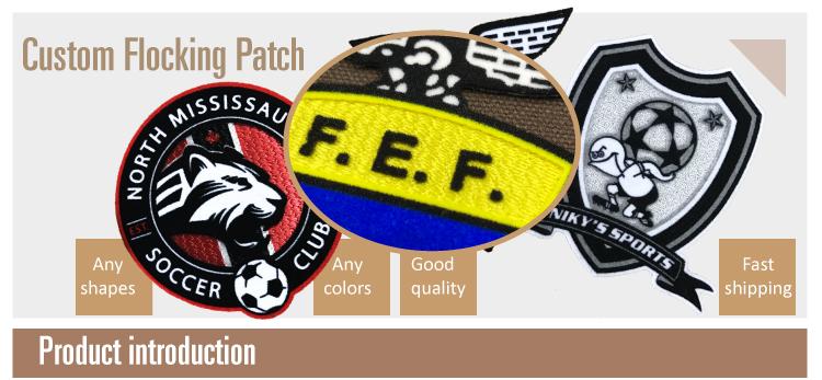 Heat Transfer Printing Personalized Design Custom Football Team Club Logo Flocking Patches