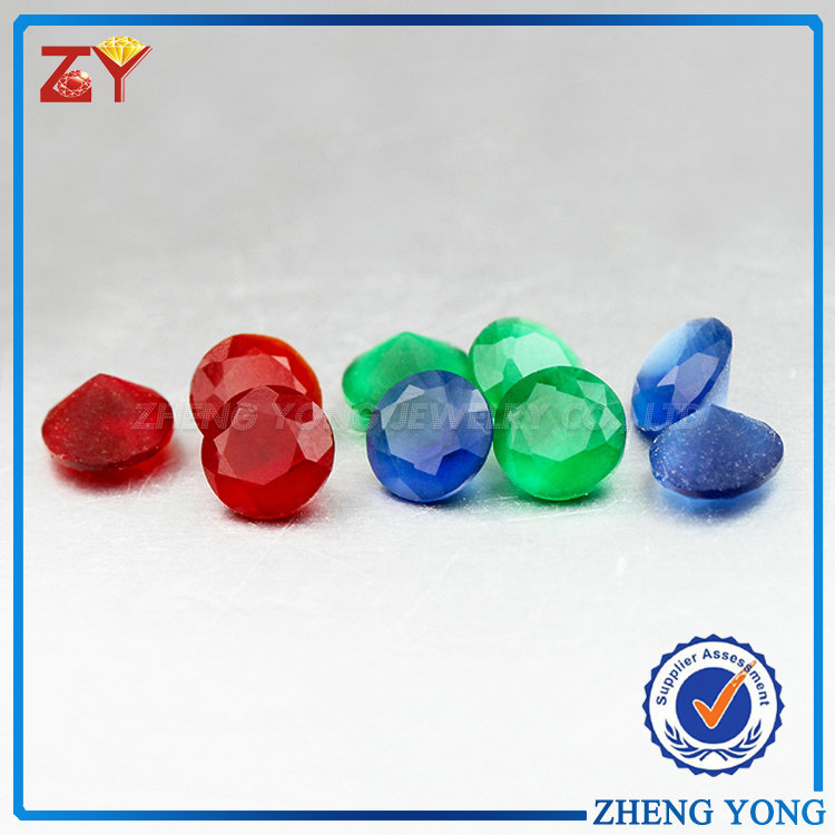 Round Brilliant Cut Stone Various Color Frosted Glass Gems